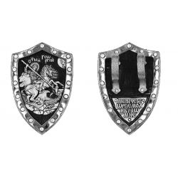 ☦ Magnifique Pendentif Russe Orthodoxe Bouclier de Saint Georges Terrassant le Dragon Argent. Trés beaux reliefs. DM13