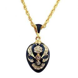 Pendentif Oeufs de Fabergé Bleu Saphir avec 58 Cristaux et sa chaîne
