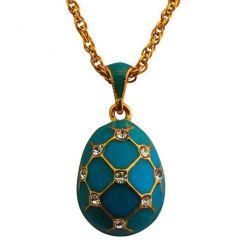 Pendentif Oeuf de Fabergé Bleu avec 18 Cristaux Swarowski Elements et sa chaîne