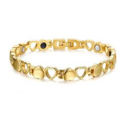 Joli Bracelet Magnétothérapie Léger et Féminin 4 aimants Coeurs Or MF05