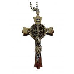 Grande Croix de Saint Benoit de Nursie avec Christ en Croix Ton Argent. avec Chaîne Billes. Trés beaux reliefs.
