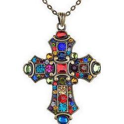 Grande Croix d'Inspiration Médiévale Avec Cristaux et Chaîne