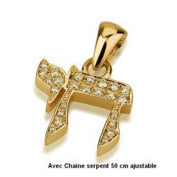 """Pendentif """"Chai"""" de la Vie juive Or et Argent"""
