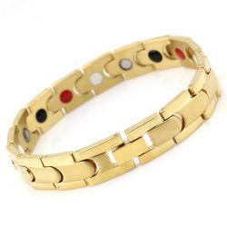 Bracelet Magnétothérapie 4 aimants Homme Doré MH06