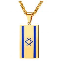 Plaque Bijou Drapeau Israélien Acier Emaillé et Plaqué Or
