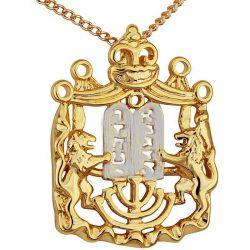"""Pendentif Deux """"Lions de Judah"""" tenant une Mezuza Plaqué Or de Terre Sainte"""