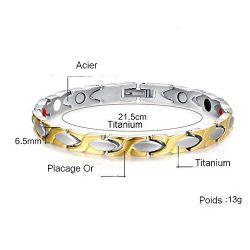 Joli Bracelet Magnétothérapie 4 aimants Féminin Doré et Argent MF01