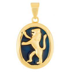 """Pendentif """"Lion de Judah"""" Or et Onyx Bleu de Terre Sainte"""
