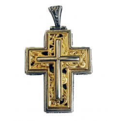 Superbe Croix Crucifix Grecque Orthodoxe Byzantine Or et Argent dans la tradition Byzantine S825
