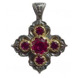 Superbe Croix Grecque Orthodoxe Byzantine en argent avec 5 Cabochons Facettés CZ Saphir.
