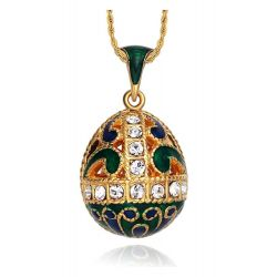 """Pendentif Oeuf Style Fabergé """"Volutes Bleues et rouges"""" et Cristaux Swarovski Elements avec sa chaîne"""