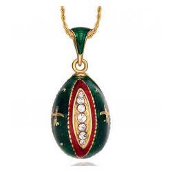 """Pendentif Oeuf Style Fabergé Rouge """"Fleur de Lys"""" avec Cristaux Swarovski Elements et sa chaîne"""