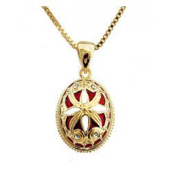 """Pendentif Oeuf Style Fabergé Plaquage Or ,Email, Cristaux """"Papillon d'Or"""" Bleu"""