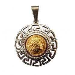 Grand Pendentif Réplique Pièce Grecque Déesse Athéna Frise Hellénique Acier Poli avec cordon cuir