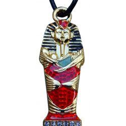 Pendentif Sarcophage du Pharaon Egyptien Toutânkhamon et son Cordon Cuir