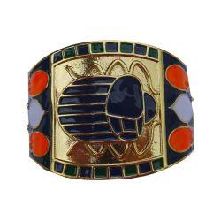 Trés beau et Surprenant Bracelet Manchette Egyptien du Roi TUT émaillé et plaqué Or 24 carats. Vraiment un très beau bijou