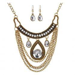 Jolie Parure Collier et Boucles d'oreilles Cléopâtre avec cristaux et chaînes