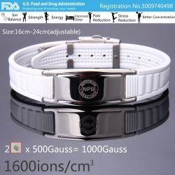 Bracelet Plaqué Argent et Silicone Blanc Féminin Bio éléments