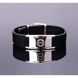 Bracelet Plaqué Argent et Silicone Noir Bio éléments