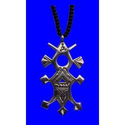 """Grande Croix du Sud Touareg """"Bilma"""" en argent massif (""""teneghelt"""") avec collier à billes en Onyx TOU06"""