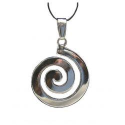 Pendentif Créateur Spirale Douce Yin et Yang en Argent Estampillé 925 avec Cordon Cuir CE04