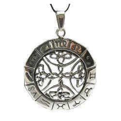 Grand Pendentif Créateur Roue du Zodiaque Maillage Celte en Argent Estampillé 925 avec Cordon Cuir CE06