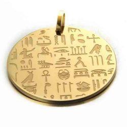 Magnifique Pendentif Hiéroglyphe (Champollion) avec écriture figurative et sa chaîne. Pendentif très original et esthétique.
