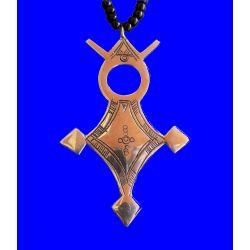 """Croix du Sud Touareg """"Agadès"""" en argent massif (""""teneghelt"""") avec collier à billes en Onyx TOU08"""