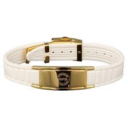Bracelet Plaqué Or et Silicone Blanc Féminin Bio éléments