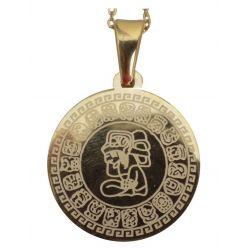 Pendentif Calendrier Maya Tzolk'in et sa chaîne. Fournisseur du Musée de l'or de Bogota.