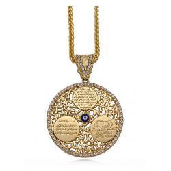 ☪ Magnifique et Grande Médaille du Verset du Mauvais Oeil du Coran (WA in Yakad Verse آیة وإن یکاد) avec Chaîne