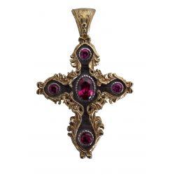 Croix Grecque Orthodoxe Byzantine Finement Ouvragée Argent et Placage Or 24 carats avec Cabochon CZ Couleur Saphir S532