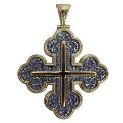 Croix Grecque Orthodoxe Byzantine 4 Lobes en Argent et placage Or 24 cts à décor de rinceaux S928