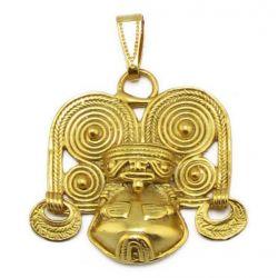 Pendentif précolombien style évoquant un chaman Tairona avec un chapeau exotique.