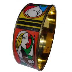 Bracelet Emaillé Artisanal trés Original aux Motifs Cubistes IND01.