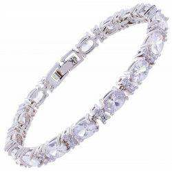 Bracelet Plaqué argent 17 Cristaux CZ Diamant et Brillants Ronds