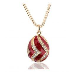 Pendentif Oeuf Style Fabergé Rouge Ondulations Or et Cristaux avec sa chaîne OE55