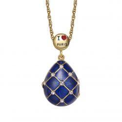 Pendentif Oeuf Ouvrant Style Fabergé Bleu I Love Paris avec sa chaîne PA01