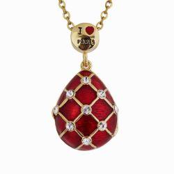 """Pendentif Oeuf Ouvrant Style Fabergé Rouge """"I Love Paris"""" avec sa chaîne PA01"""