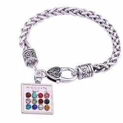 ✡ Bracelet Hoshen de Terre Sainte Acier Ton Or et Cristaux CZ.