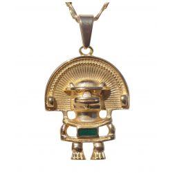 Merveilleux Pendentif Personnage anthropomorphe Tairona coiffé d'un Diadème et au Plastron émeraude. Musée de l'or de Bogota.