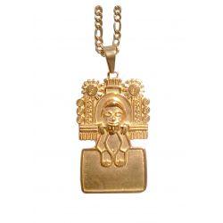 Rare Pendentif Xipe Totec Mythologie Aztèque. (Dieu du Renouveau.) avec chaîne.