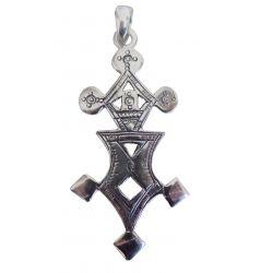 """Grande Croix du Sud Touareg""""Madaoua"""" en argent massif estampillé 925 avec cordon cuir TOU24"""