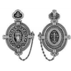 ☦ Magnifique Reliquaire Ange Gardien du Calvaire Seigneur Tout-Puissant et Tolga Icône de la Mère de Dieu DM 116