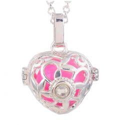 "Pendentif Bijou Bola de Grossesse ""Coeur Rose Cristal Diamant"""
