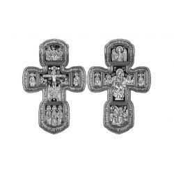 Imposante Croix Crucifix Orthodoxe de Protection Icône Mère de Dieu Tolgskaya. Nombreux Personnages en Argent 30 grs DM120.