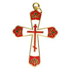 Croix Orthodoxe émaillée 3 Couleurs Dominante Rouge. Fabrication artisanale.