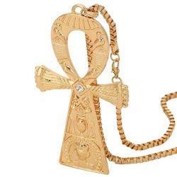 Rare Grand Collier BIB Clé Ankh avec motifs et cristal. Symbole égyptien de la vie.
