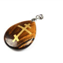 Pendentif Galet en Obsidienne naturelle Croix Orthodoxe Couleur Oeil de Tigre avec Cordon Cuir