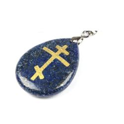 Pendentif Galet en Obsidienne naturelle Croix Orthodoxe Couleur Lapis Lazuli avec Cordon Cuir